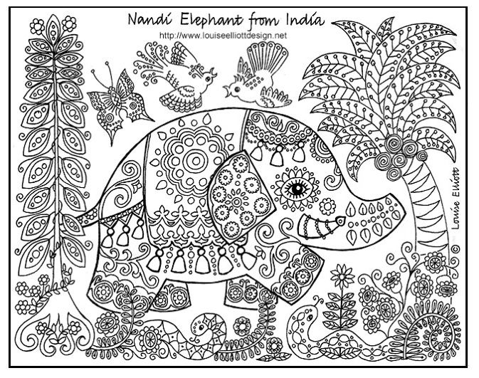 2 elephant zentangle coloring pages colouring adult detailed advanced printable kleuren voor - Coloring Pages Indian Elephants