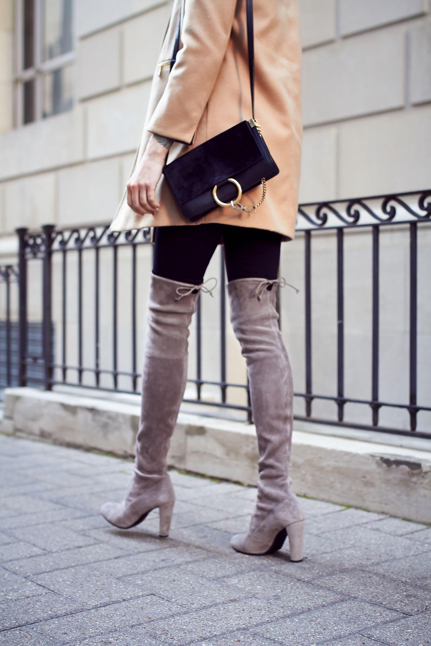 Poważnie Fall Outfit, Camel Coat, Chloe Faye Handbag, Black Skinny Jeans HT32