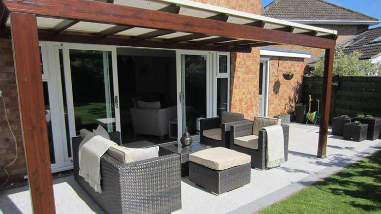 Lean to Cotswold timber canopy pergola with retractable fabric roof & Lean to Cotswold timber canopy pergola with retractable fabric ...