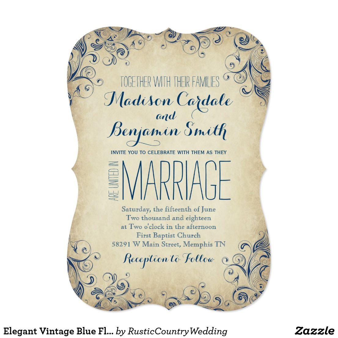 Elegant Vintage Blue Flourish Wedding Invitations | Weddings ...