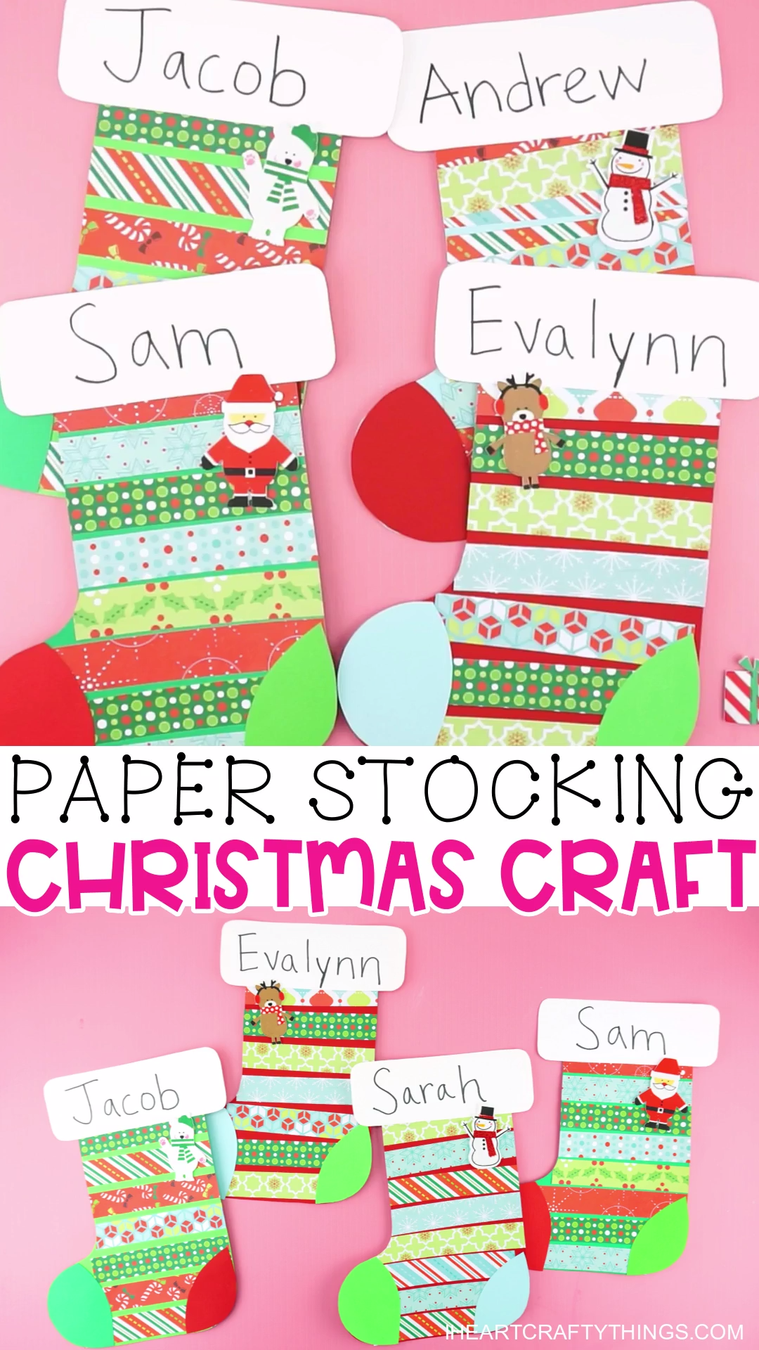 Paper Stocking Christmas Craft for Kids