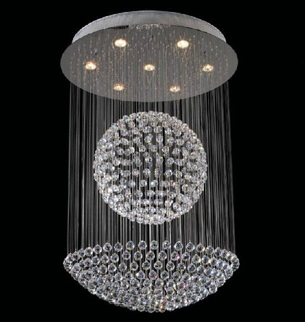 Stunning Crystal Sphere Chandelier Orb Luxury Sphare Led Modern Black Background