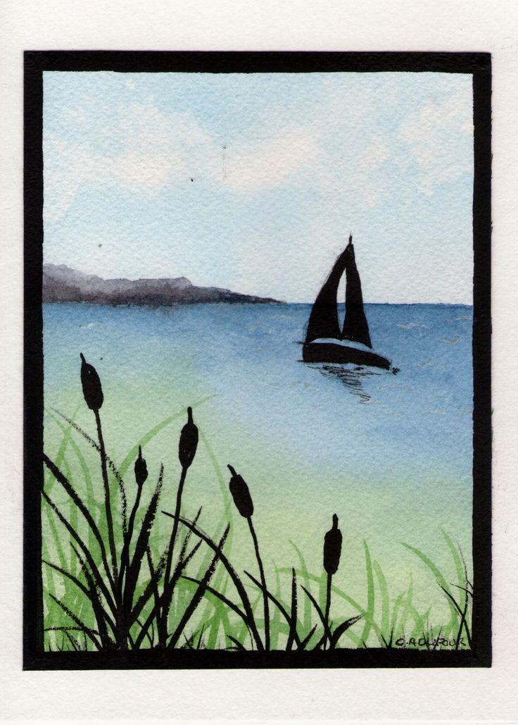 Sailboat Silhouette Watercolor Watercolors Pinterest