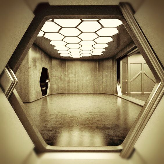 Passageway hexagon desert futurista ciudad futurista naves espaciales Diseno interior futurista