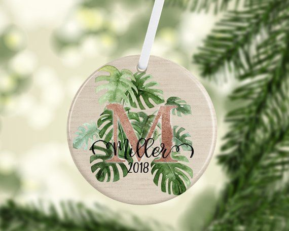 Christmas Leaf Name.Monstera Leaf Family Name Christmas Ornament The Best Of