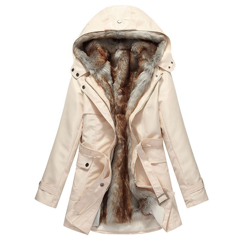 6ee872ad105f HEE GRAND Faux Fur Thick Lining Winter Jacket Women Hooded Windshield  Zipper Sashes Parka Plus Size 3XL Manteau Femme
