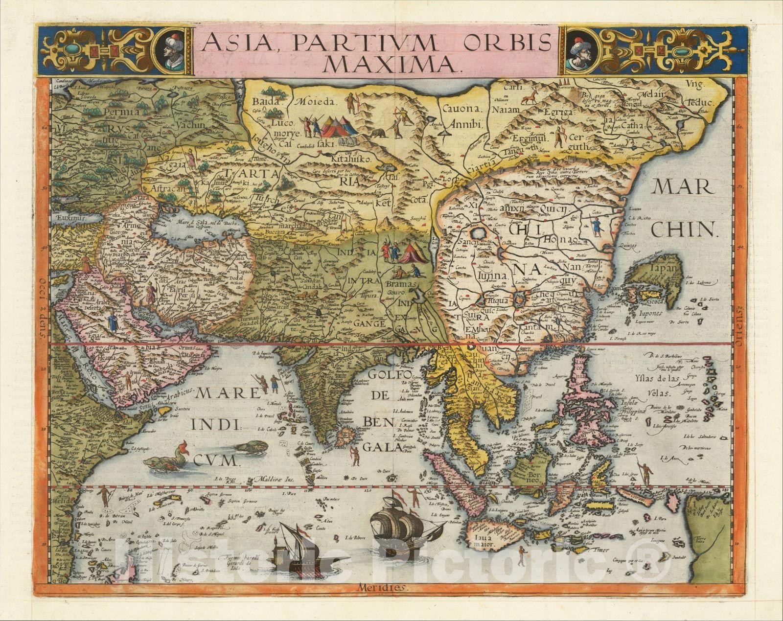 Historic Map Asia Partium Orbis Maxima 1593 Gerard De Jode Vintage Wall Art Asia Map Map Antique Maps