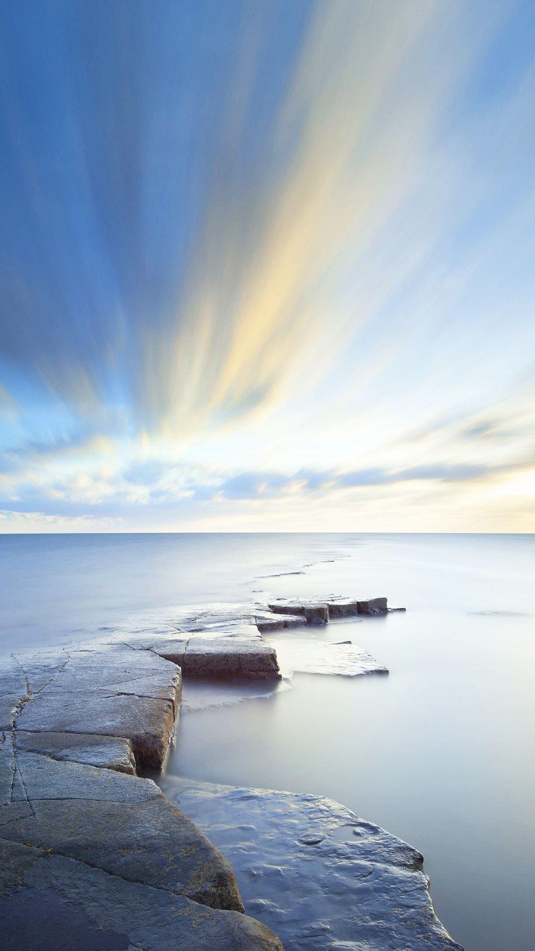 Rock Road Wonderful Blue Sky iPhone 6 plus Wallpaper