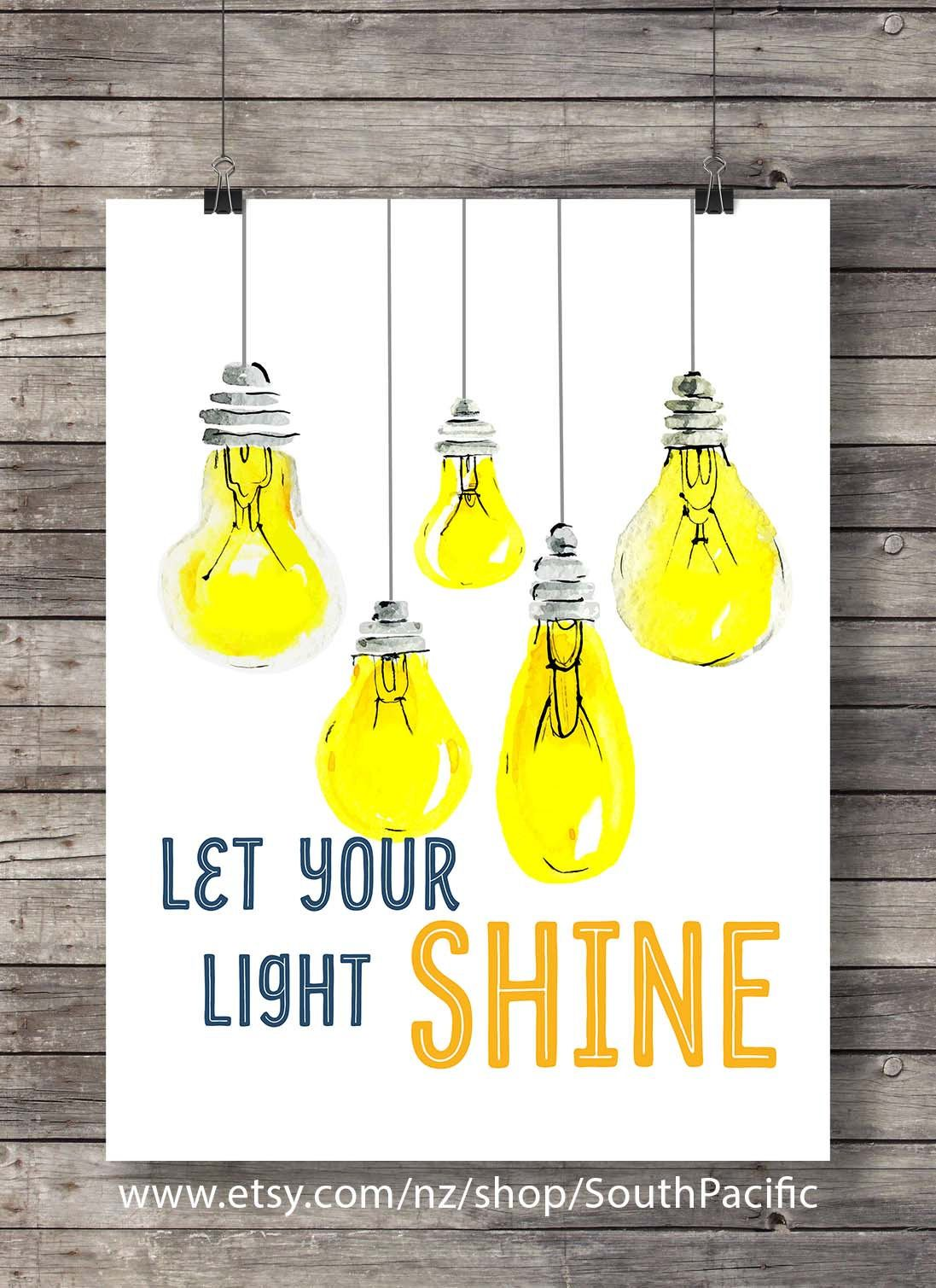 Let your light shinePrintable art   Hand lettering typography ...
