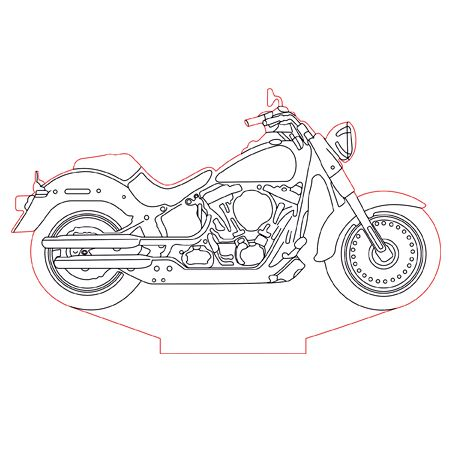 Harley Davidson Bike 3d Illusion Lamp Plan Vector File For Laser And Cnc 3bee Studio 3d Illusion Lamp Harley Davidson Bikes 3d Illusions