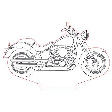 Harley Davidson bike 3d illusion lamp plan vector file for