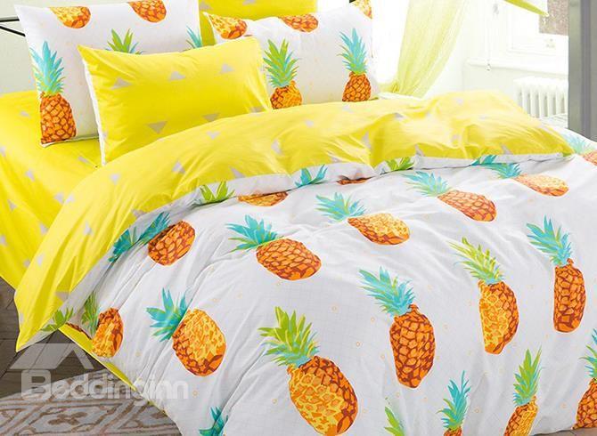100 Cotton Lovely Pineapple Pattern Kids Duvet Cover Set