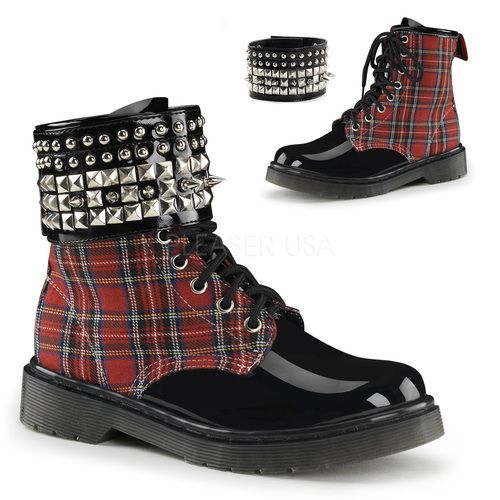 cdbbd974d1bb Red Plaid Spiked Studded Boots W  Velcro Ankle Cuff Grunge