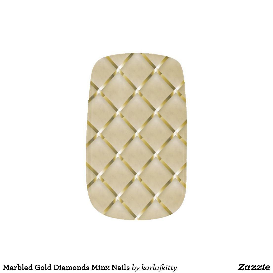 Marbled Gold Diamonds Minx Nails Minx Nail Wraps   Nail Art ...