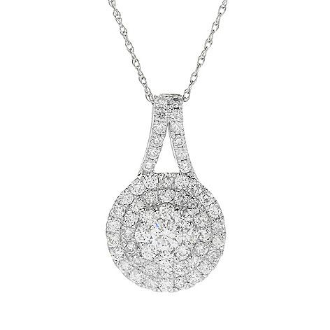 "160-771 - Gems of Distinction™ 14K White Gold 0.93ctw Diamond Pendant w/ 18"" Rope Chain"