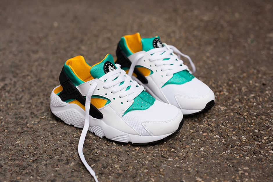 nike huarache orange and green