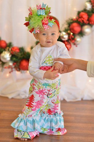 Baby Girls Yuletide Christmas Tree Holiday Outfit Set | Baby ...