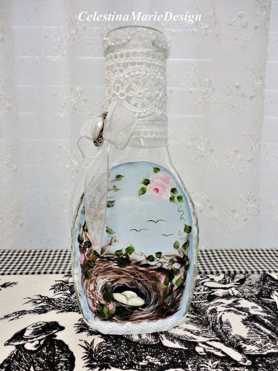 Nest Bottle Art, Hand Painted Original, CSSTeam, ECS