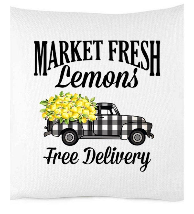 Market Fresh Lemons Pillow Cover, Buffalo Check, Buffalo