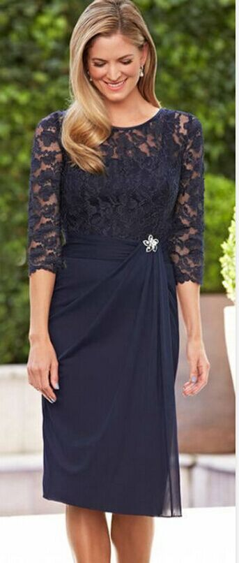 New Navy Blue Lace Short Mother Of The Bride Dresses ...