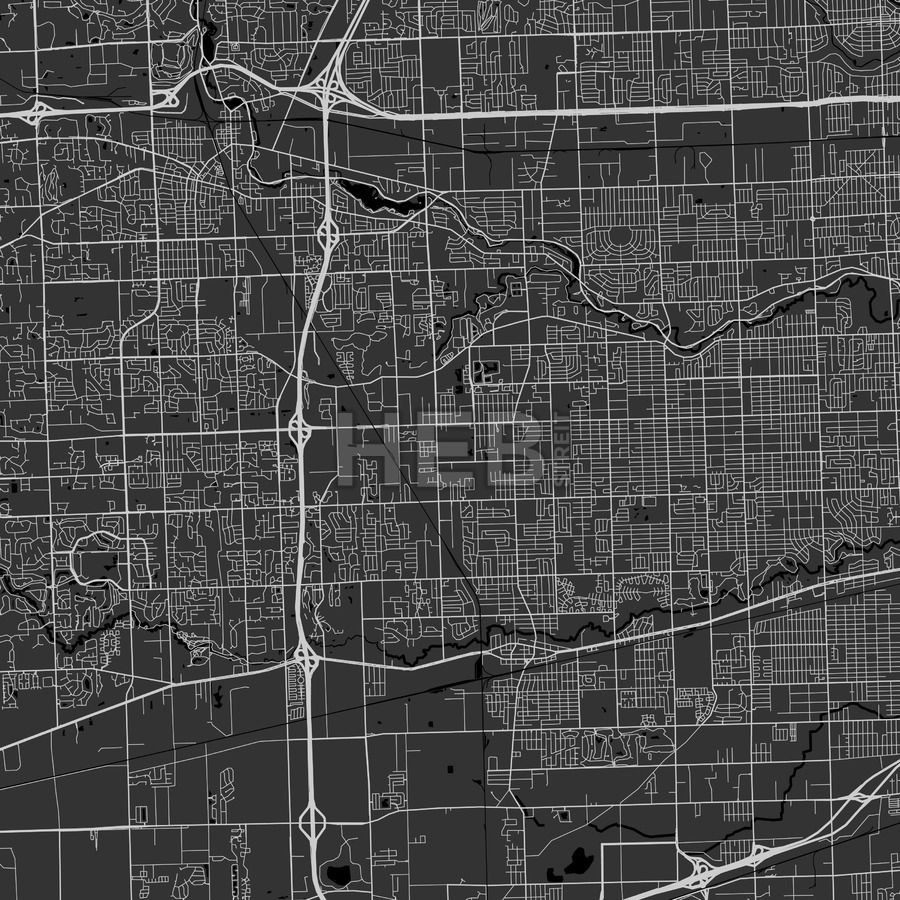 Westland, Michigan - Area Map - Dark