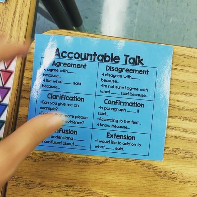 Accountable talk Velcro these babies to desks  I introduced accountable talk by telling my kids that the sky is green and the ground is blue  They had so much fun disagreeing with me and the discussi is part of Teacher hacks -