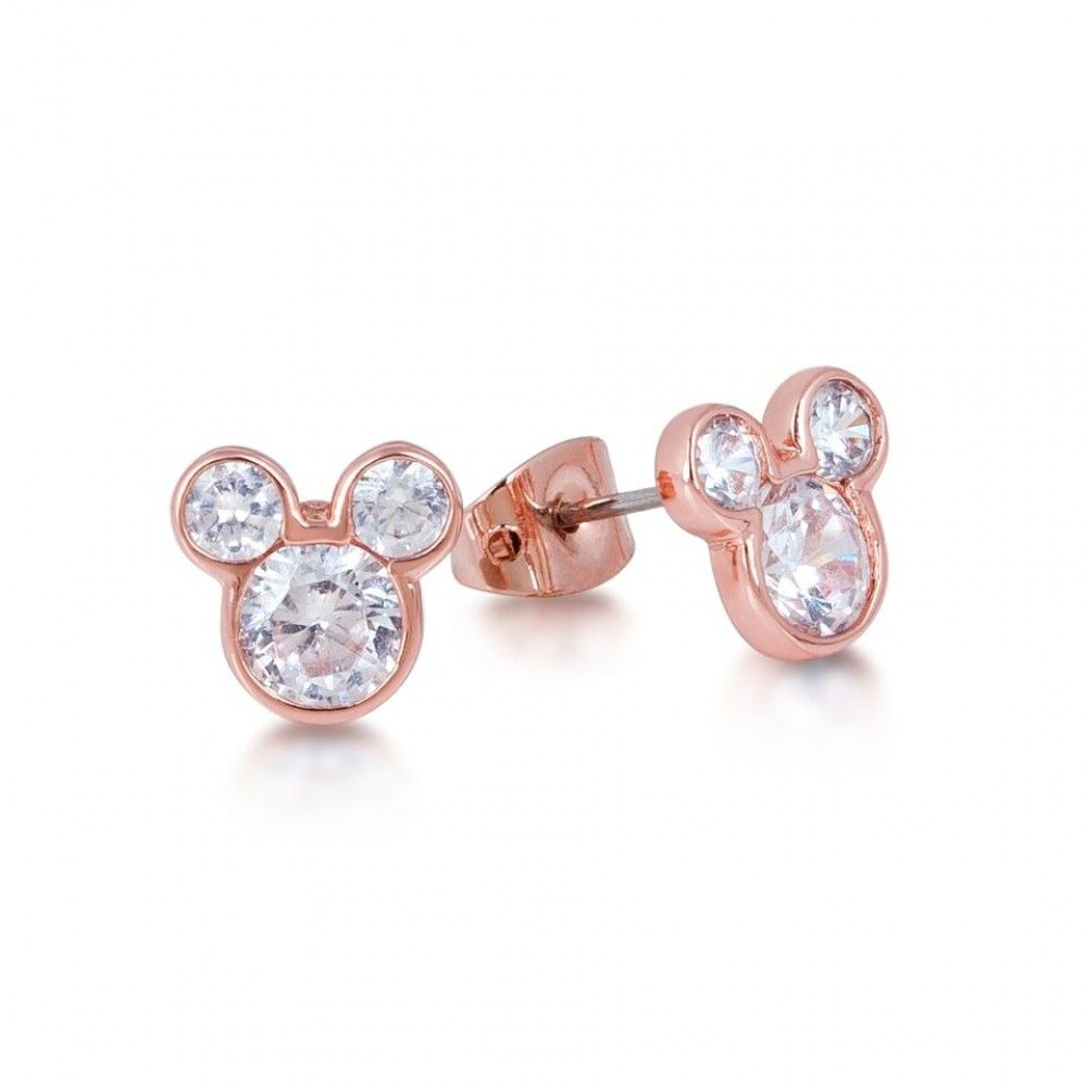 6bba65efb Disney Couture Rose Gold-plated Crystal Mickey Mouse Head Stud Earrings