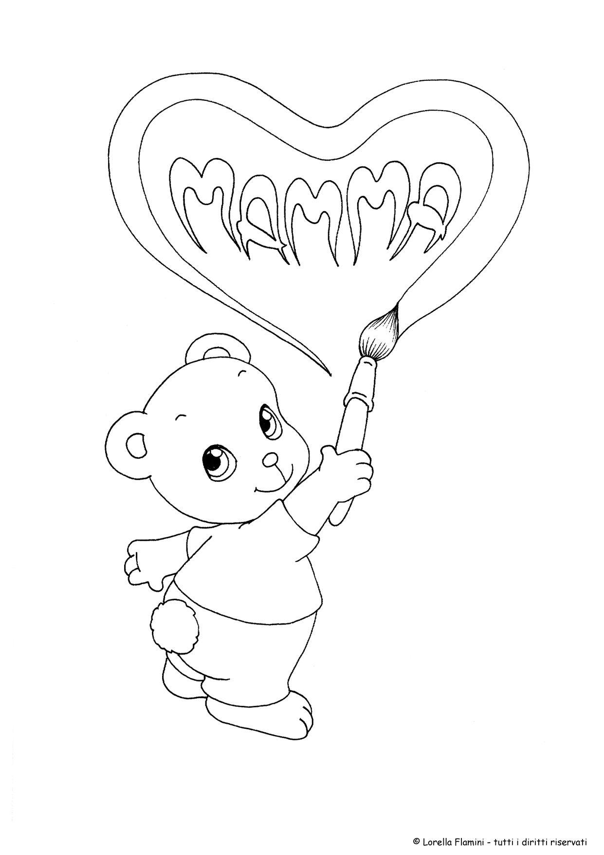 cuore disegno da colorare festa della mamma 2 | idee ...