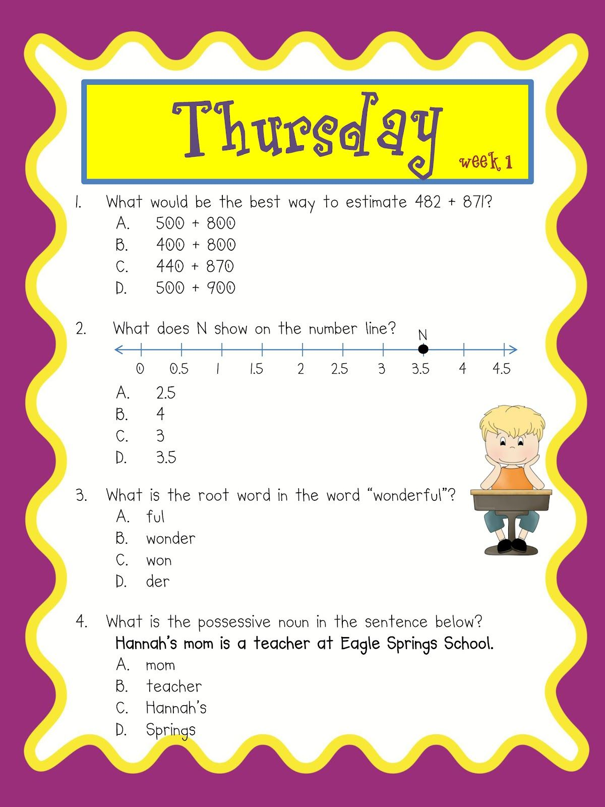 Testing Review Daily Math And Grammar