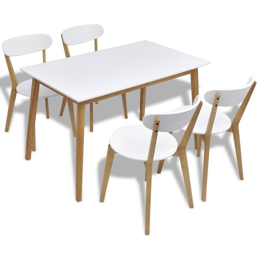 Wooden retro dining table set chairs seats white home kitchen