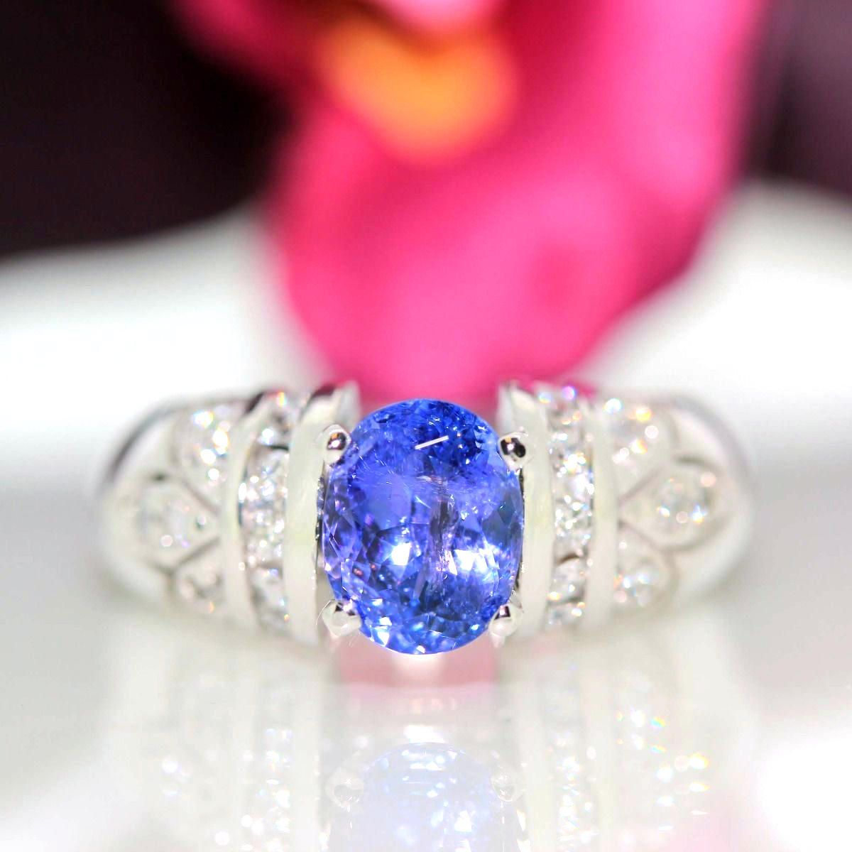 14k White gold Natural Tanzanite & Diamond Solitaire Cluster ring ...