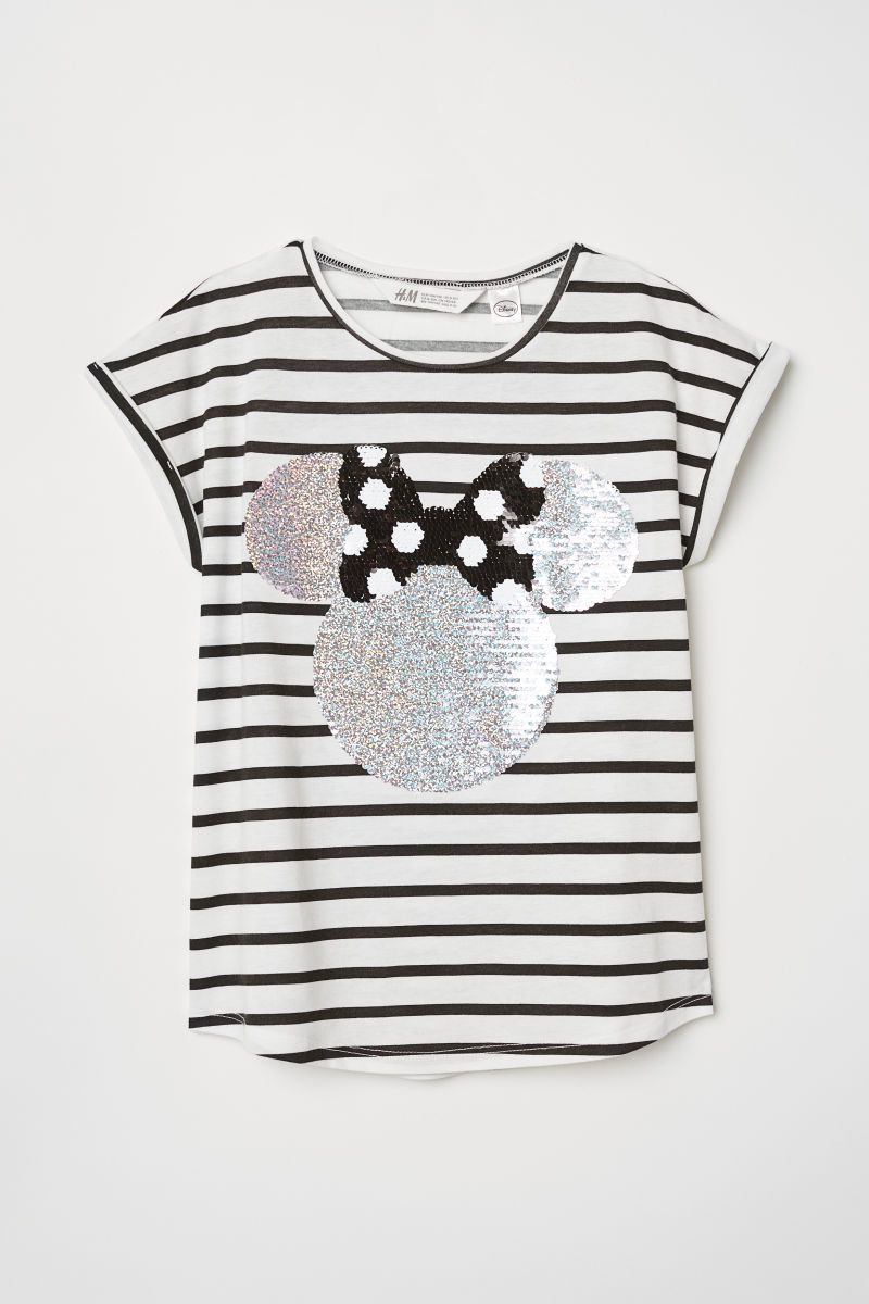adf0558e5 Reversible Sequin T-shirt | White striped/Minnie Mouse | KIDS | H&M ...