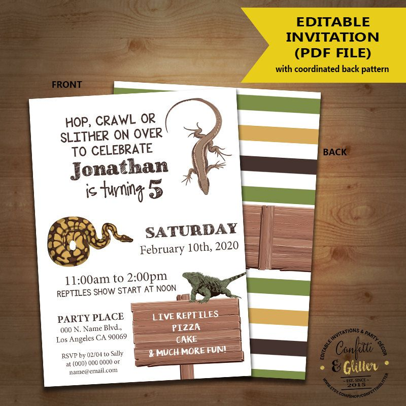 Reptiles birthday invitation lizard snake amphibian party invite reptiles birthday invitation lizard snake amphibian party invite instant download you edit text and print yourself filmwisefo