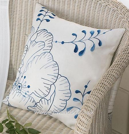 Blue Flower Cushion Front Embroidery Kit