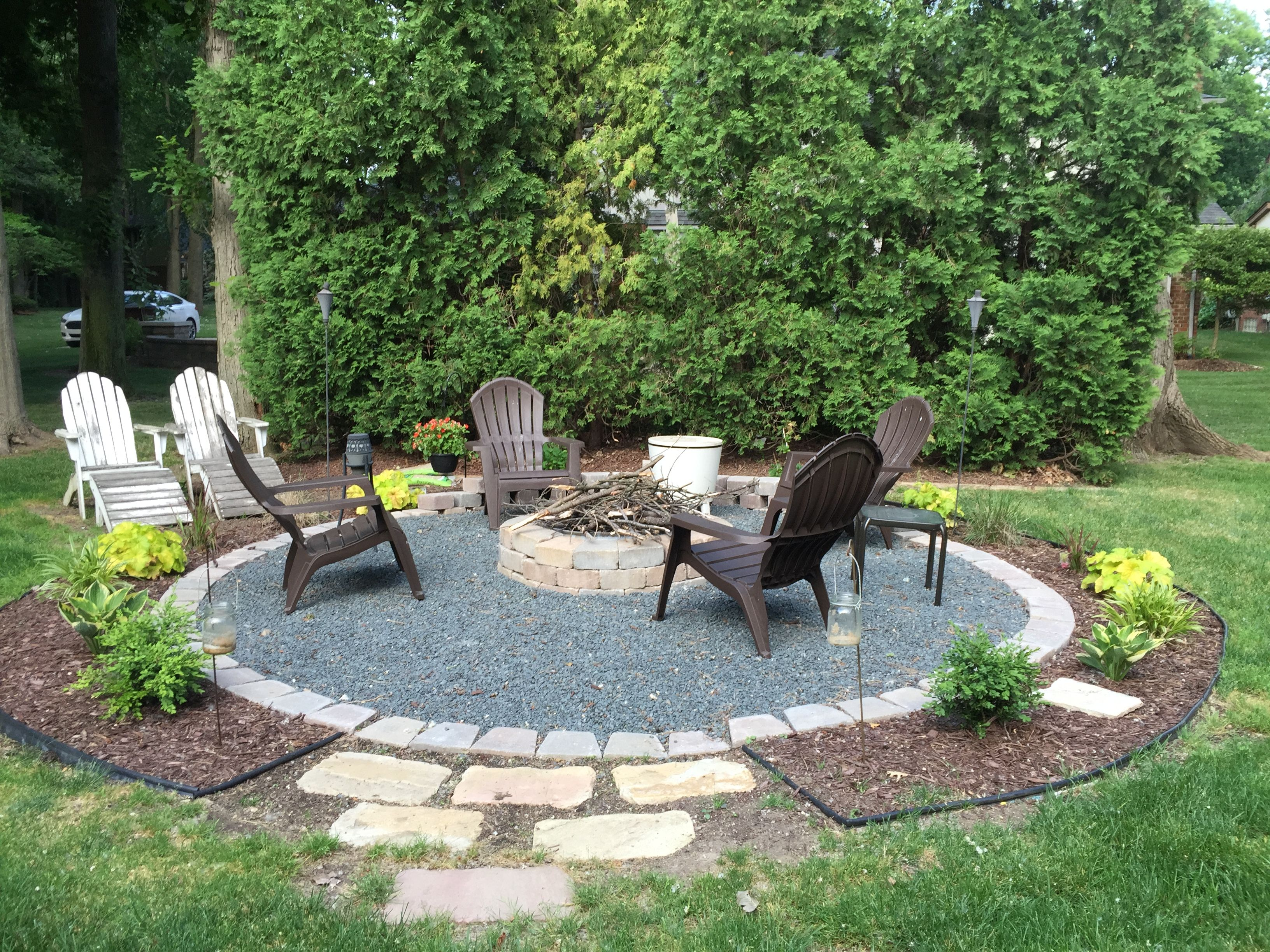 Our fire pit landscaping in 2019 fire pit patio fire - Fire pit landscaping ideas ...