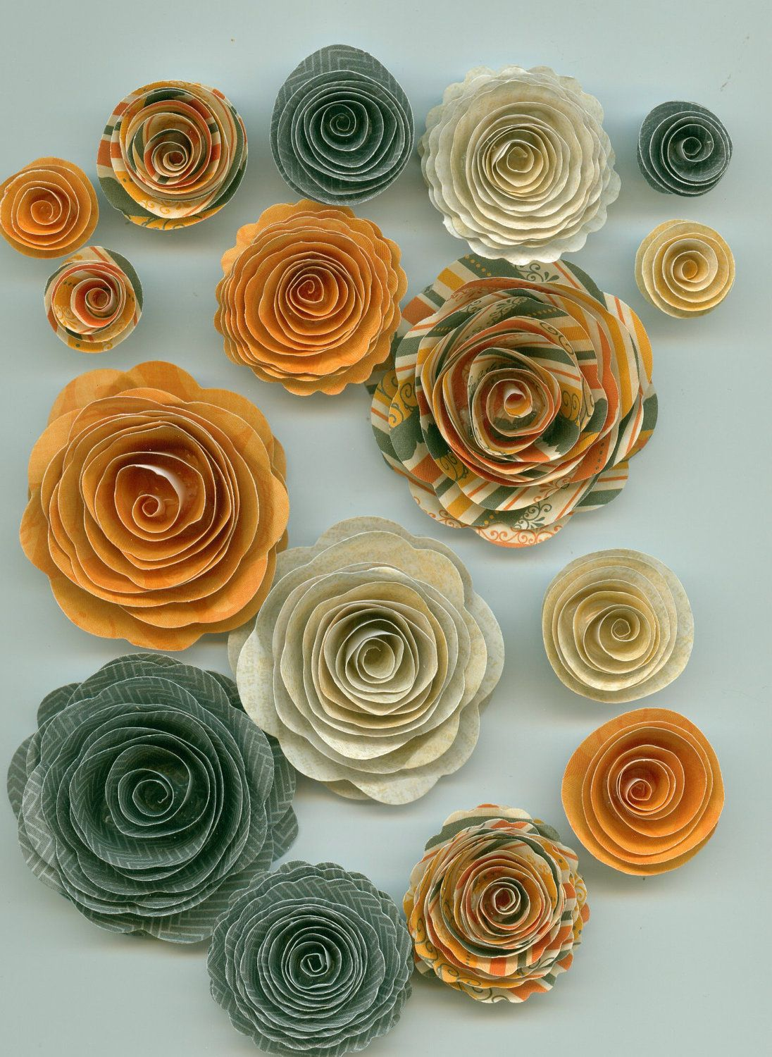 Halloween Handmade Spiral Paper Flowers Eerie Grey Ghost White And