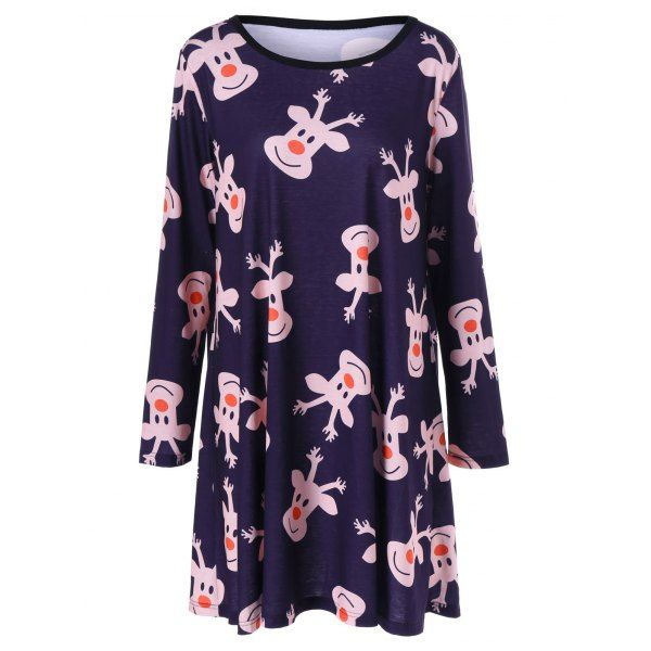 9da466b1c2cba Plus Size Reindeer Print Longline T-Shirt - Deep Blue 3xl Mobile