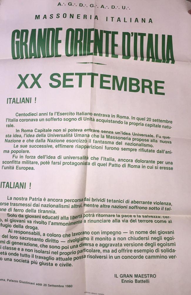 MASSONERIA: MANIFESTO DEL XX SETTEMBRE 1980 - GOI, perfette condizioni 100X70 | eBay