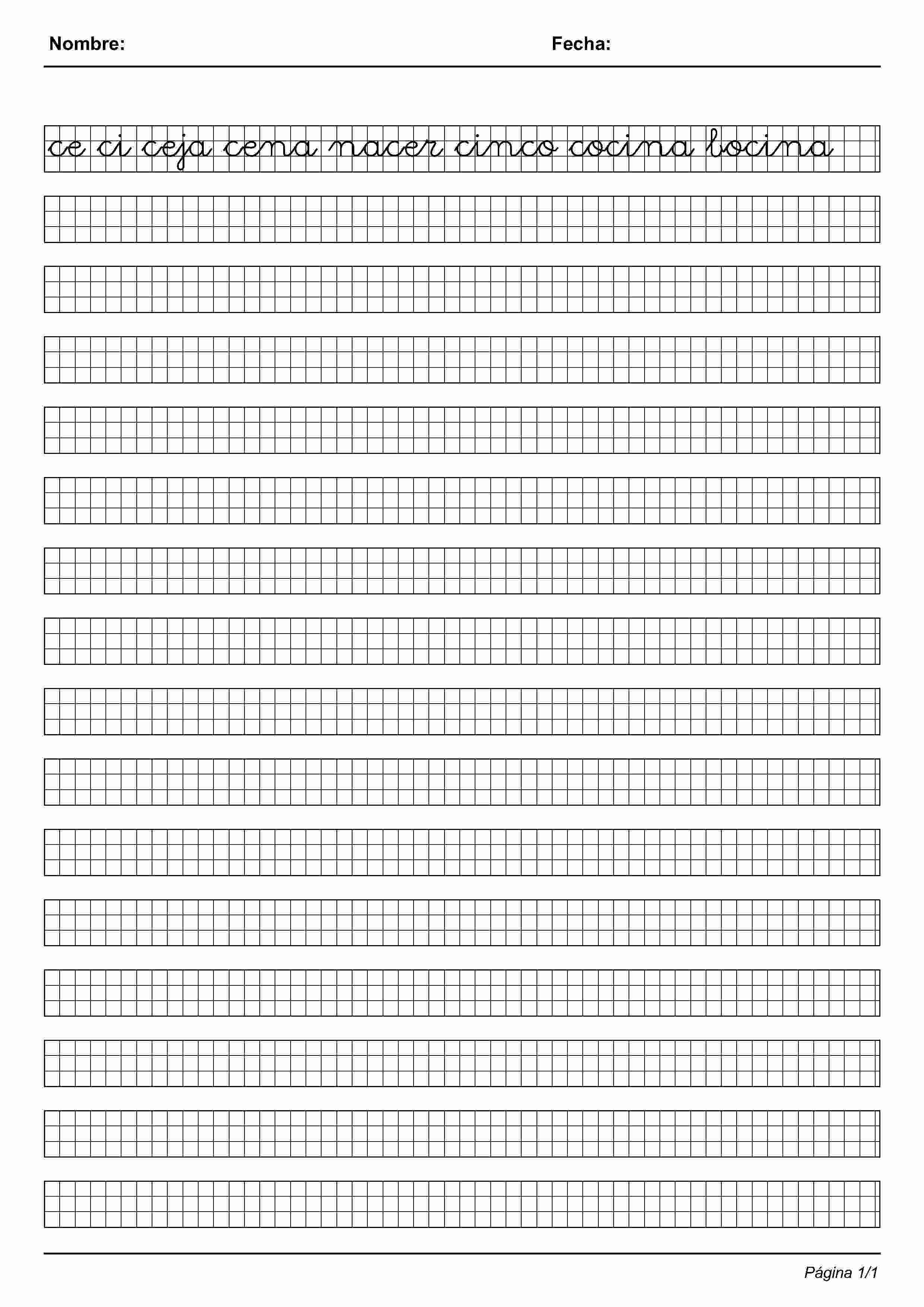 Actividades para niños preescolar, primaria e inicial. Imprimir fichas de caligrafia en cuadricula para niños de preescolar y primaria. Caligrafia en Cuadricula. 95