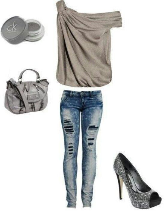 Cream Top And Skinny Jeans Club Outfit My Style Cute