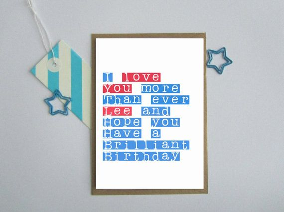 Personalised Birthday Card For Boyfriend Husband Partner