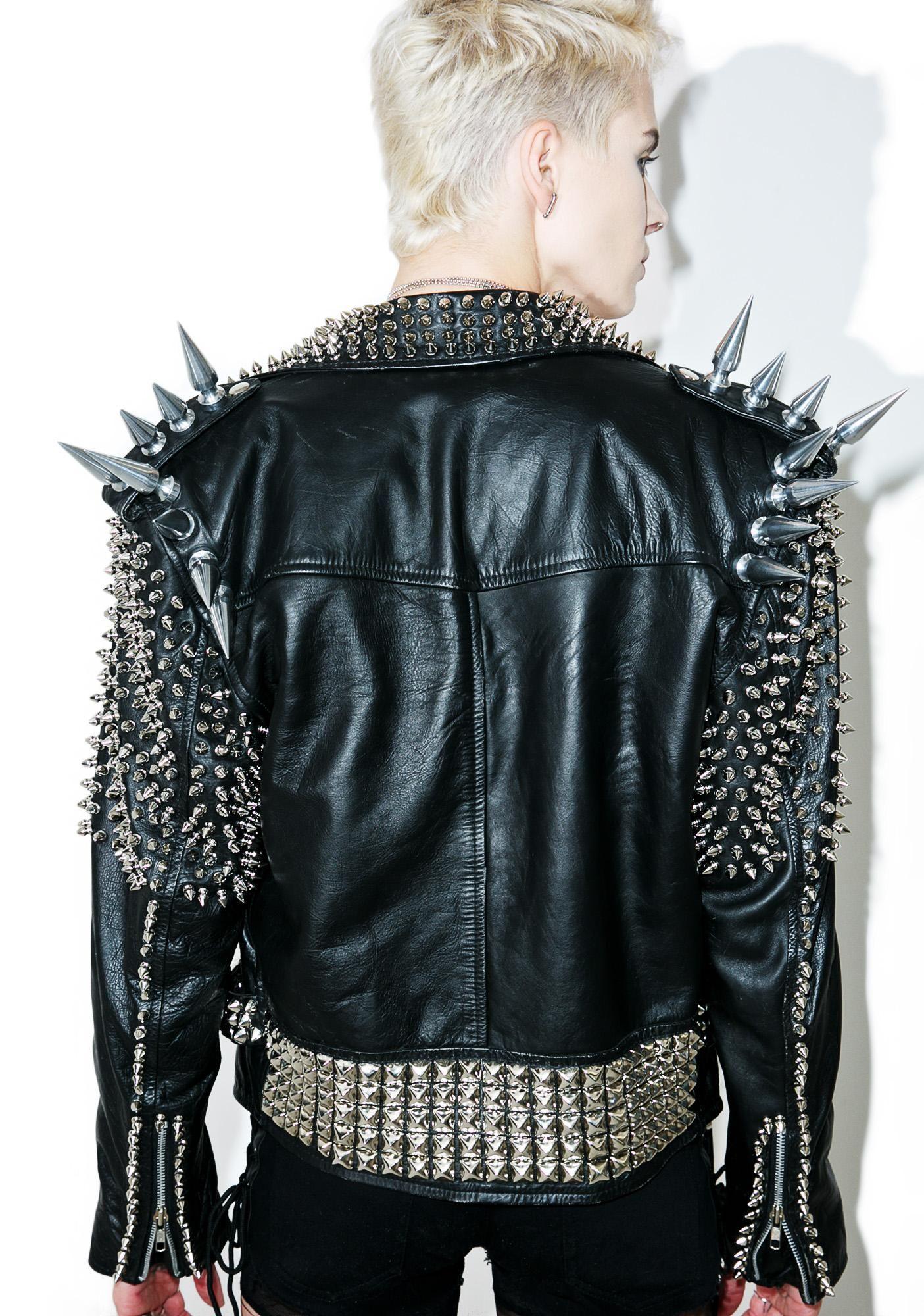 Vintage Deadstock Giant Spike Leather Jacket Spiked Leather Jacket Fashion Leather Jacket [ 2000 x 1405 Pixel ]