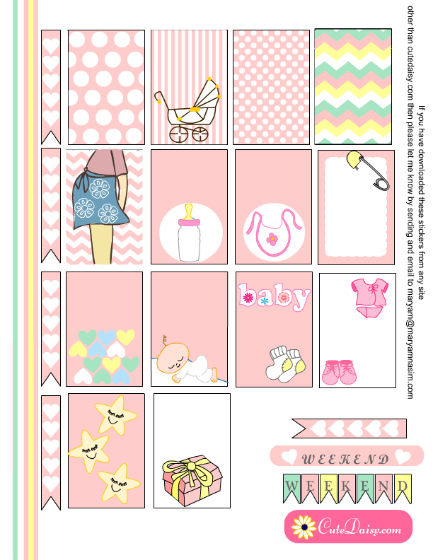 Free Printable Baby themed Stickers for Happy Planner in Pink Color