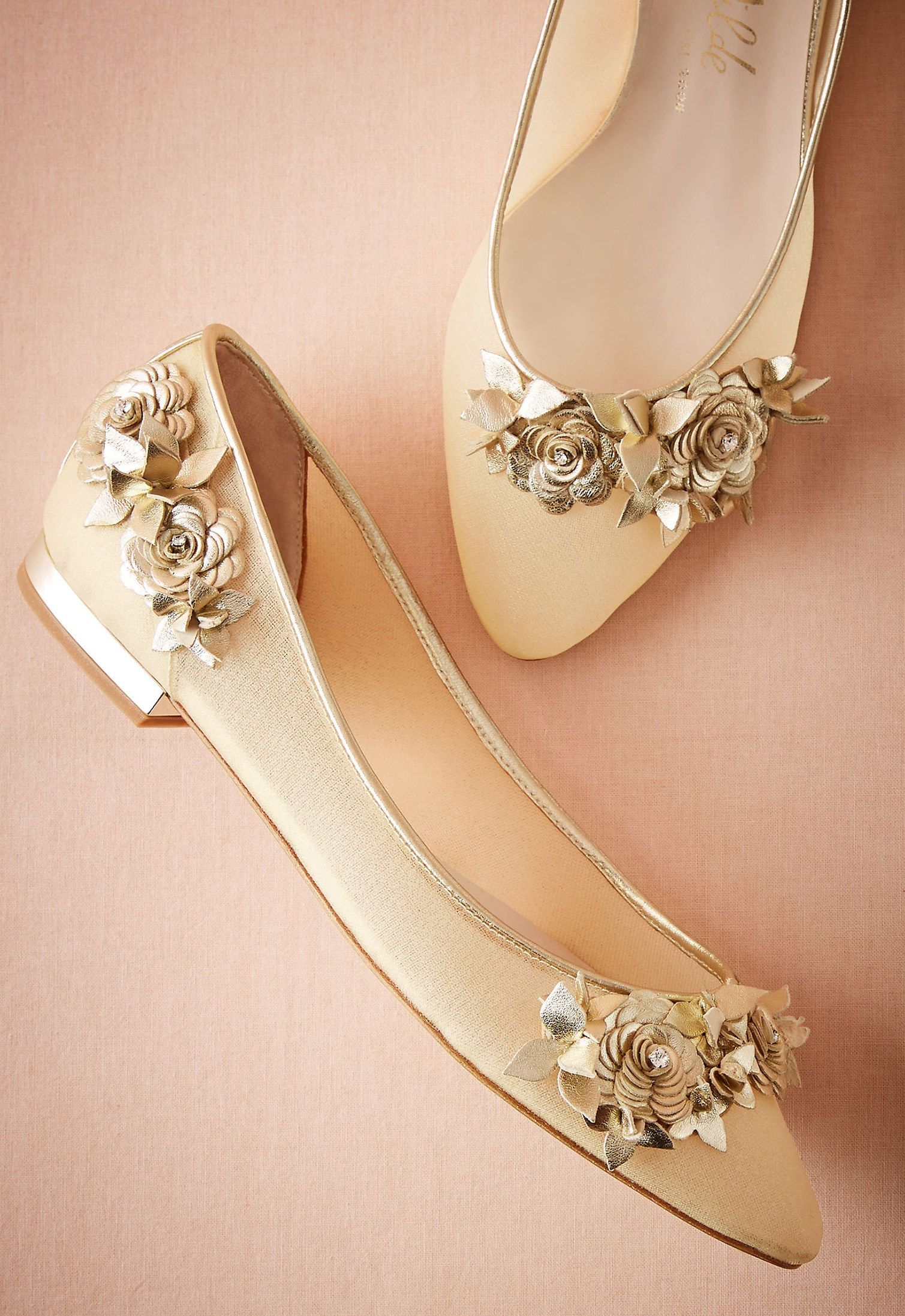 a6c4daa30ca4 Lennox Flats by Harriet Wilde in Gold    We re in awe of the beautiful  craftsmanship of these elegant flats  each gilded leather flower is made by  hand in ...