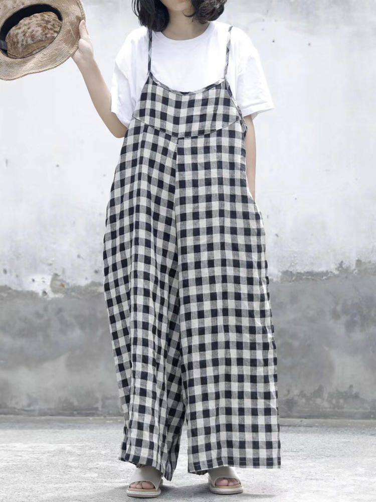 00d0a60334 Only US 20.99 shop women sleeveless strap loose casual plaid jumpsuit at  Banggood.com. Buy fashion jumpsuits   playsuits online. - Banggood Mobile