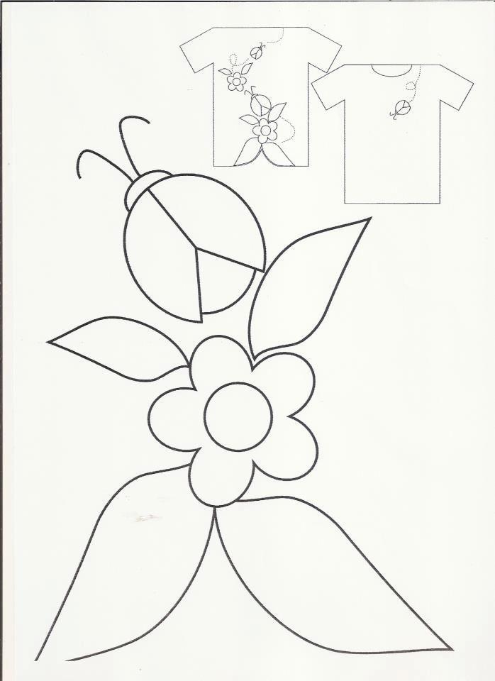 Mariquita con flor   Apliques   Pinterest   Patrones, Bordado y ...