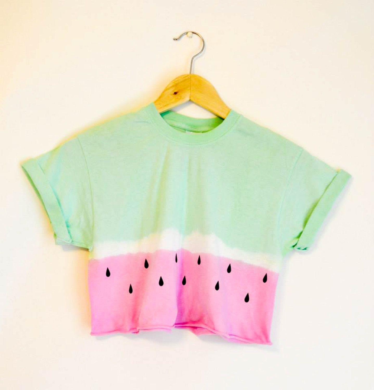 watermelon crop top tie dye ombre 90 u0027s grunge festival t shirt