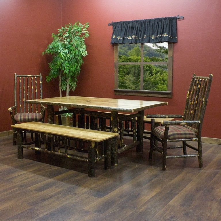 Real Hickory Log Dining Table  Bench Bar Furniture And Room Extraordinary Hickory Dining Room Sets Design Ideas