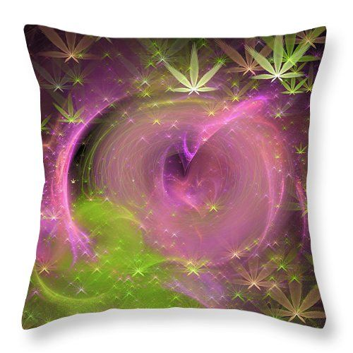 Pink And Green Weed Art Throw Pillow Abstract Art With Marijuana