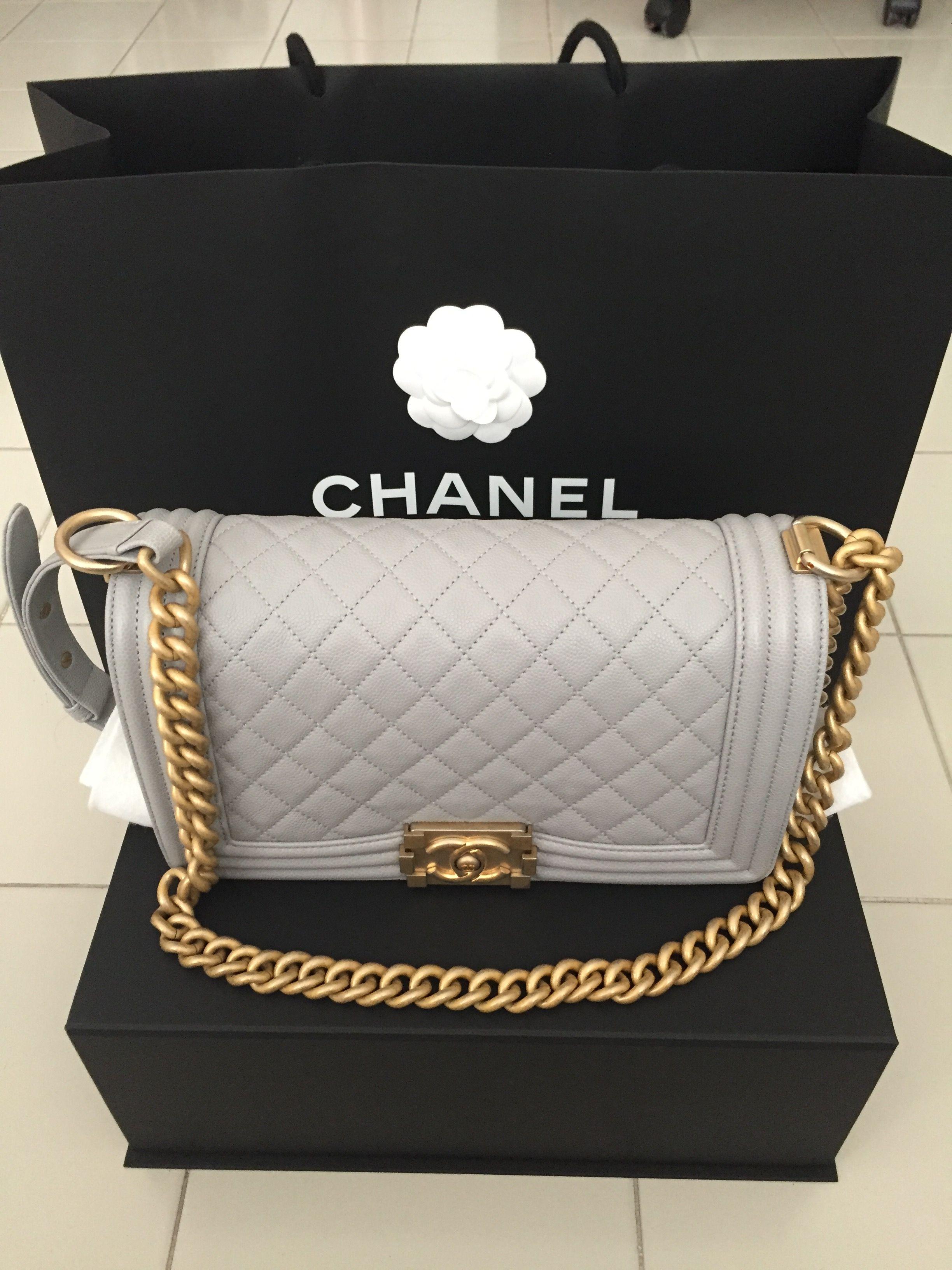 Can t resist! Grey Chanel Boy GHW Holo 25  578f64cf7d